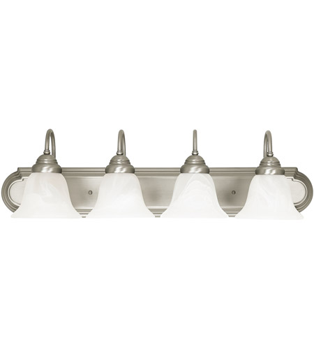 Capital Lighting Signature 4 Light Vanity in Matte Nickel with Faux White Alabaster Glass 1164MN-118 photo