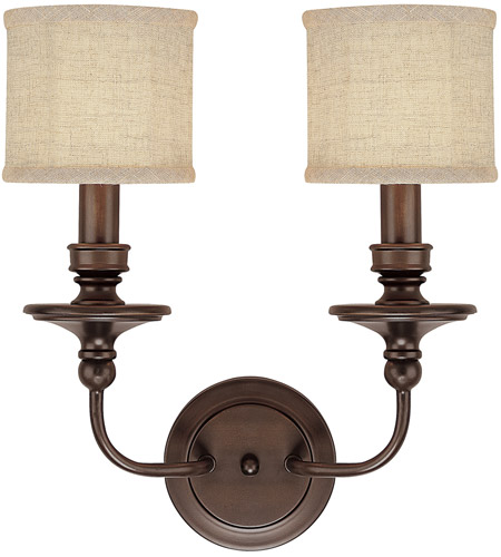 Capital Lighting 1232BB-450 Midtown 2 Light 15 inch Burnished Bronze Sconce Wall Light in Light Tan Fabric Shade photo