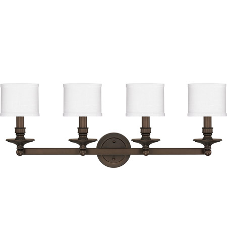Capital Lighting 1239BB-451 Midtown 4 Light 35 inch Burnished Bronze Vanity Wall Light in Decorative White Fabric Shade photo thumbnail