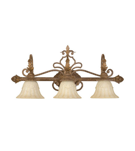 Capital Lighting Seville 3 Light Vanity in Gilded Umber with Rust Scavo Glass 1343GU-275 photo