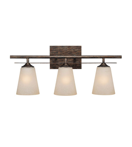 Capital Lighting Soho 3 Light Vanity in Rustic with Mist Scavo Glass 1738RT-131 photo