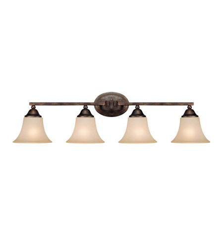 Capital Lighting Towne & Country 4 Light Vanity in Rustic with Mist Scavo Glass 1754RT-107 photo