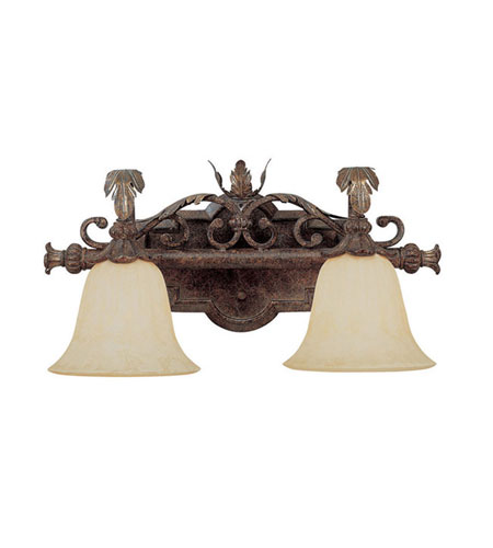 Capital Lighting Grandview 2 Light Vanity in Dark Spice with Rust Scavo Glass 1812DS-241 photo
