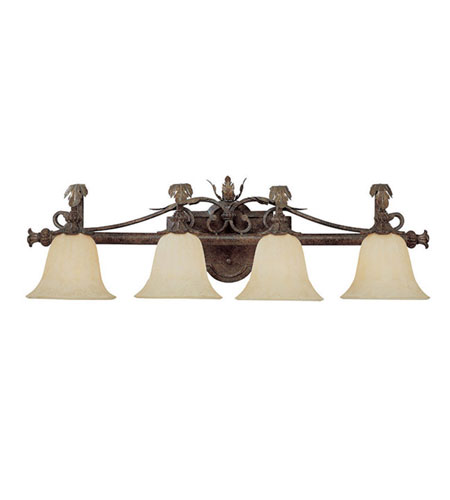 Capital Lighting Grandview 4 Light Vanity in Dark Spice with Rust Scavo Glass 1814DS-241 photo