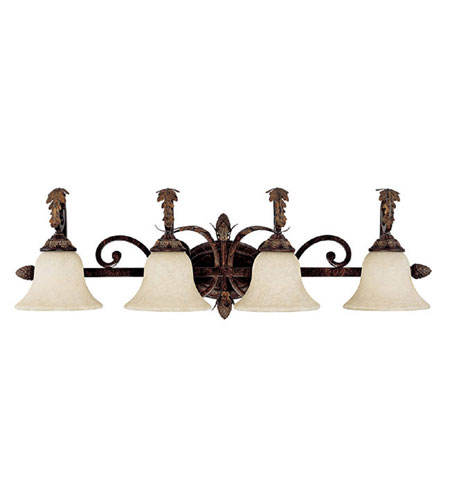 Capital Lighting Amberleigh 4 Light Vanity in Chesterfield Brown with Rust Scavo Glass 1824CB-285 photo