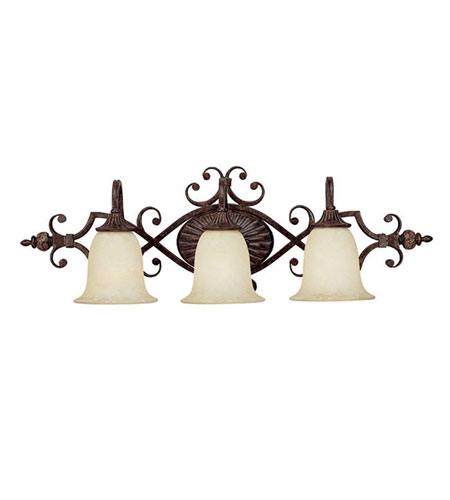 Capital Lighting Manchester 3 Light Vanity in Chesterfield Brown with Rust Scavo Glass 1873CB-294 photo