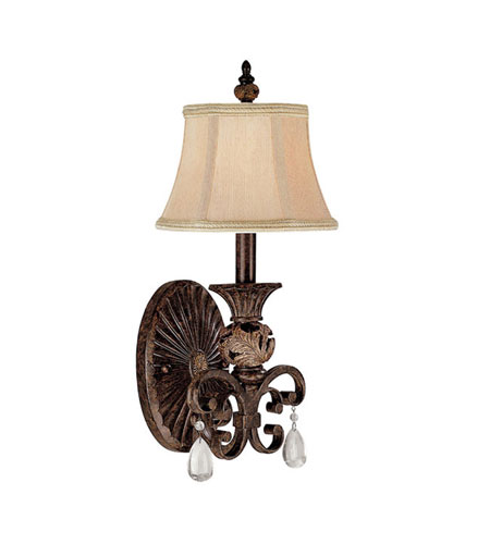 Capital Lighting Manchester 1 Light Sconce in Chesterfield Brown with Crystals 1876CB-436-CR photo