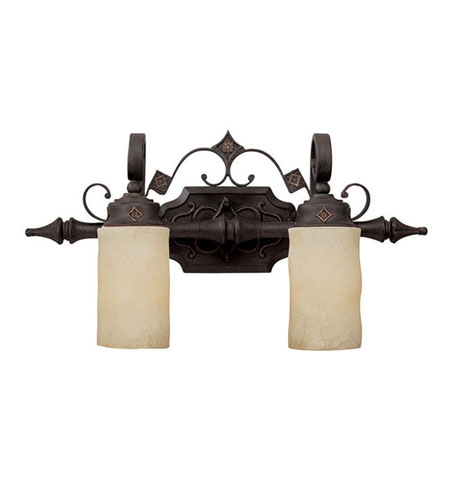 Capital Lighting River Crest 2 Light Vanity in Rustic Iron with Rust Scavo Cylinder Glass 1902RI-125 photo