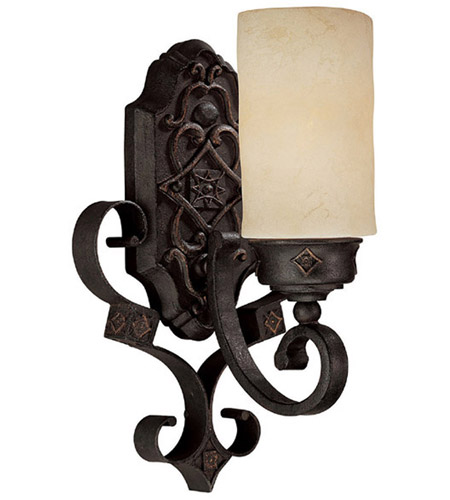 Capital Lighting River Crest 1 Light Sconce in Rustic Iron with Rust Scavo Glass 1906RI-125 photo