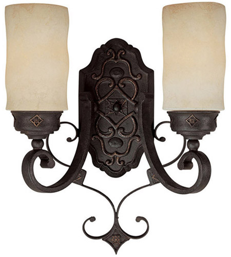 Capital Lighting River Crest 2 Light Sconce in Rustic Iron with Rust Scavo Glass 1907RI-125 photo