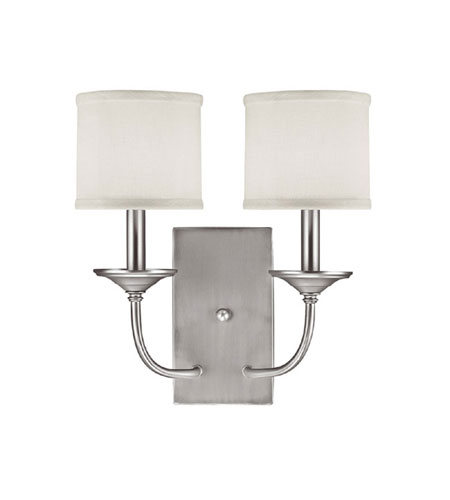 Capital Lighting 1982MN-469 Loft 2 Light 14 inch Matte Nickel Sconce Wall Light in White Fabric Shade photo