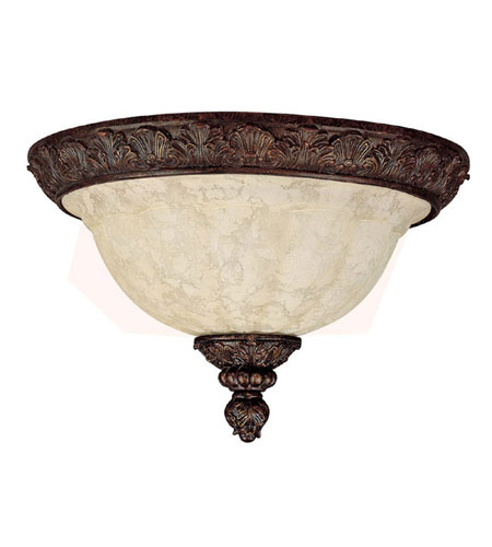 Capital Lighting Signature 2 Light Flush Mount in Gilded Bronze with Rust Scavo Glass 2142GB photo
