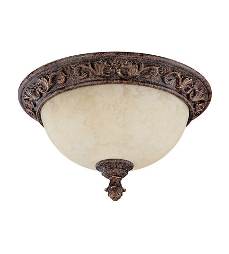 Capital Lighting Seville 2 Light Flush Mount in Gilded Umber with Rust Scavo Glass 2173GU photo