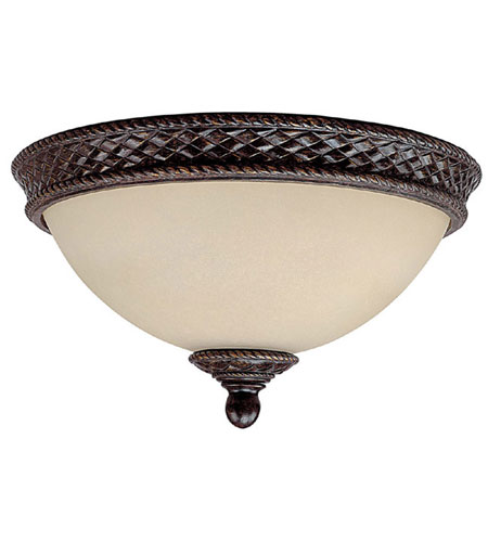Capital Lighting Chatham 2 Light Flush Mount in Weather Brown with Mist Scavo Glass 2183WB photo