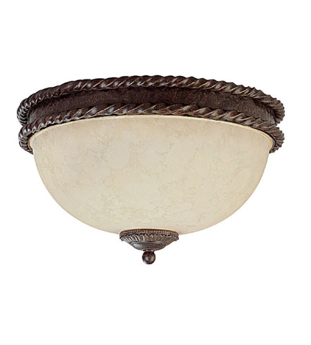 Capital Lighting Highlands 3 Light Flush Mount in Weather Brown with Rust Scavo Glass 2195WB photo