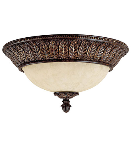 Capital Lighting Sheffield 3 Light Flush Mount in Chesterfield Brown with Rust Scavo Glass 2245CB photo