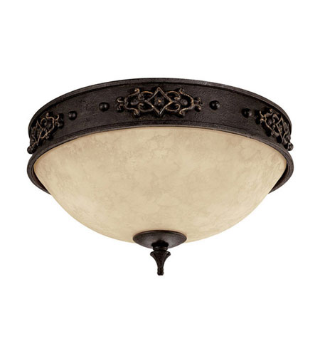 Capital Lighting River Crest 3 Light Flush Mount in Rustic Iron with Rust Scavo Glass 2285RI photo