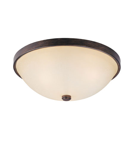 Capital Lighting Signature 3 Light Flush Mount in Rustic with Mist Scavo Glass 2325RT photo