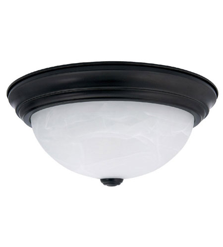 Capital Lighting Signature 3 Light Flush Mount in Matte Black with Faux White Alabaster Glass 2715MB photo