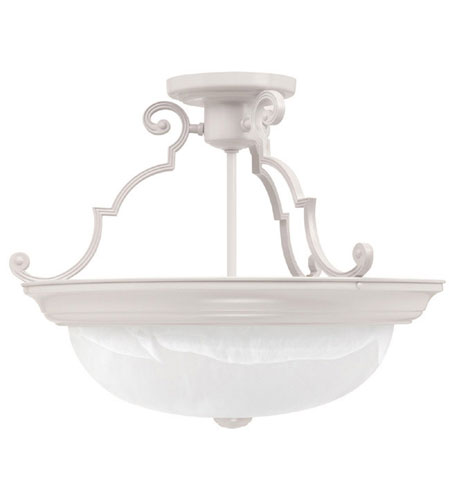Capital Lighting Signature 3 Light Semi-Flush Mount in Matte White with Faux White Alabaster Glass 2717MW photo