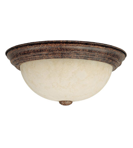 Capital Lighting Signature 2 Light Flush Mount in Gilded Umber with Rust Scavo Glass 2733GU photo
