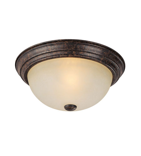 Capital Lighting Signature 2 Light Flush Mount in Chesterfield Brown with Mist Scavo Glass 2741CB photo