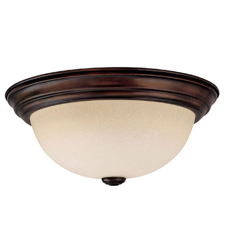 Capital Lighting Signature 3 Light Fluorescent Flush Mount in Burnished Bronze with Mist Scavo Glass 2745BB-GU photo