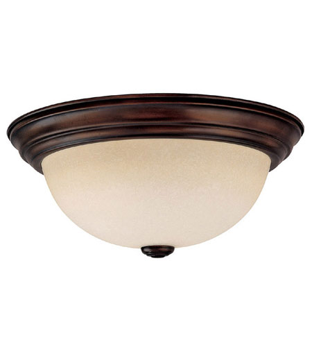 Capital Lighting Signature 3 Light Flush Mount in Burnished Bronze with Mist Scavo Glass 2745BB photo