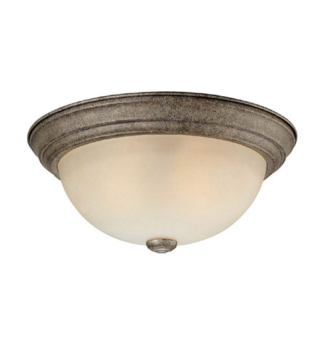 Capital Lighting Signature 3 Light Flush Mount in Creek Stone with Mist Scavo Glass 2745CS photo
