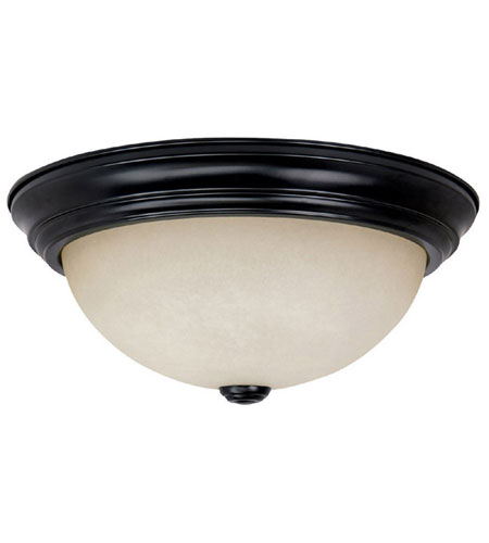 Capital Lighting Signature 3 Light Flush Mount in Matte Black with Mist Scavo Glass 2745MB photo