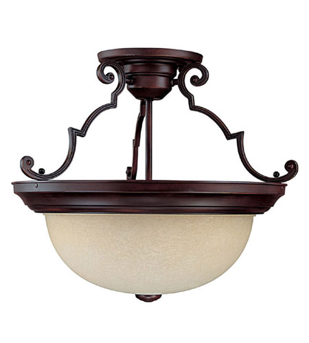 Capital Lighting Signature 3 Light Semi-Flush Mount in Mediterranean Bronze with Rust Scavo Glass 2747MBZ photo