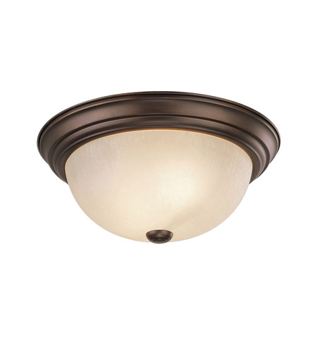 Capital Lighting Chapman 3 Light Flush Mount in Burnished Bronze with Tumbleweed Glass 2755BB photo
