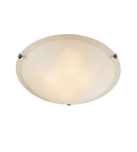 Capital Lighting Signature 3 Light Flush Mount in Burnished Bronze/Mediterranean Bronze/Rustic with Mist Scavo Glass 2826MS photo