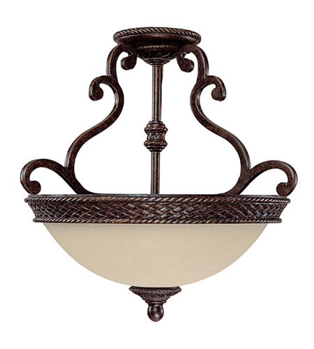 Capital Lighting Chatham 3 Light Semi-Flush Mount in Weather Brown with Mist Scavo Glass 3013WB photo