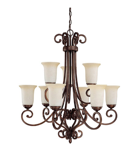 Capital Lighting Cumberland 9 Light Chandelier in Burnished Bronze with Mist Scavo Glass 3029BB-251 photo