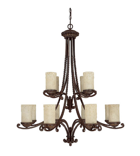 Capital Lighting Highlands 12 Light Chandelier in Weather Brown with Rust Scavo Glass 3032WB-261 photo