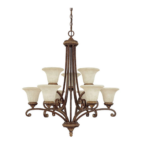 Capital Lighting Carlisle 9 Light Chandelier in Dark Spice with Rust Scavo Glass 3049DS-265 photo