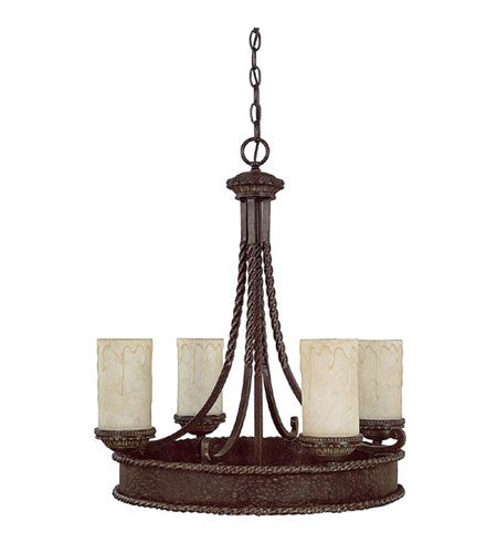 Capital Lighting Highlands 4 Light Chandelier in Weather Brown with Rust Scavo Glass 3054WB-261 photo