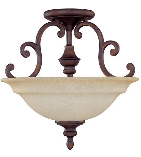 Capital Lighting Chandler 3 Light Semi-Flush Mount in Burnished Bronze with Mist Scavo Glass 3071BB photo