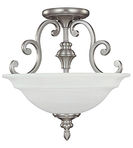 Capital Lighting Chandler 3 Light Semi-Flush Mount in Matte Nickel with Faux White Alabaster Glass 3071MN photo