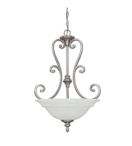 Capital Lighting Chandler 3 Light Pendant in Matte Nickel with Faux White Alabaster Glass 3076MN photo