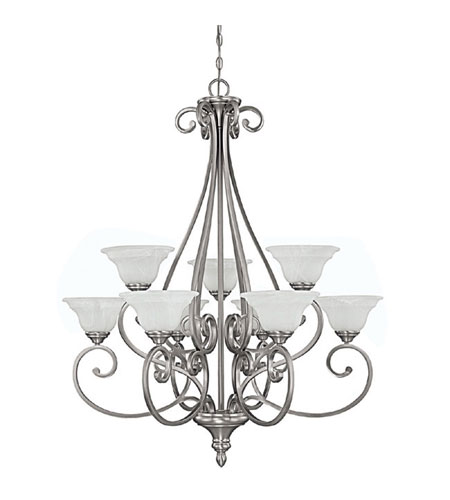 Capital Lighting 3079MN-222 Chandler 9 Light 33 inch Matte Nickel Chandelier Ceiling Light in White Faux Alabaster photo