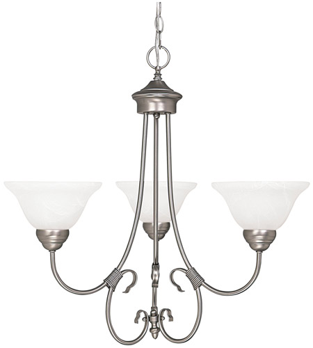 Capital Lighting Hometown 3 Light Chandelier in Matte Nickel with Faux White Alabaster Glass 3223MN-220 photo