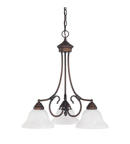 Capital Lighting Hometown 3 Light Chandelier in Burnished Bronze with White Faux Alabaster Glass 3224BB-220 photo
