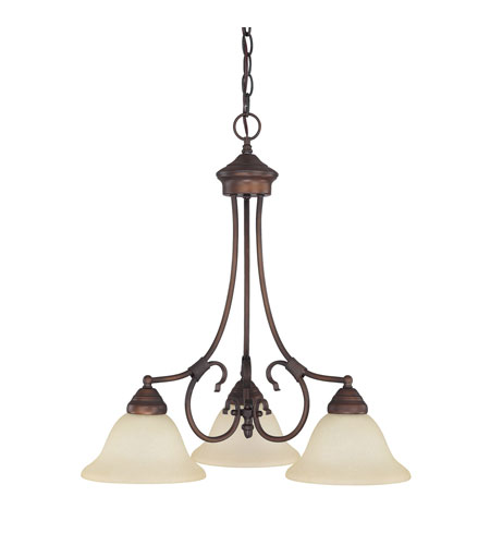 Capital Lighting Hometown 3 Light Chandelier in Burnished Bronze with Mist Scavo Glass 3224BB-257 photo