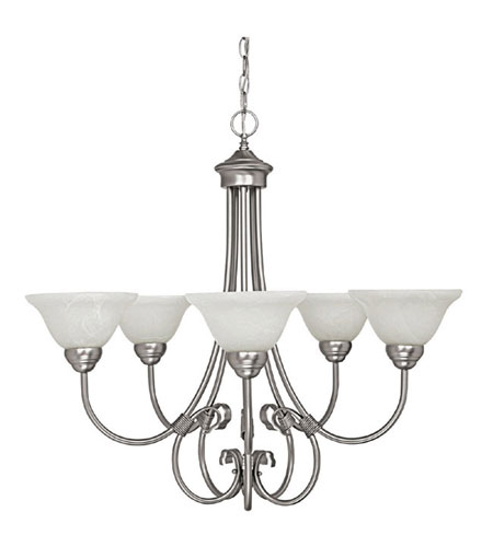 Capital Lighting Hometown 5 Light Chandelier in Matte Nickel with Faux White Alabaster Glass 3226MN photo