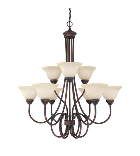 Capital Lighting Hometown 9 Light Chandelier in Burnished Bronze with Mist Scavo Glass 3229BB-257 photo
