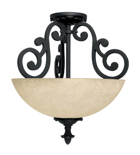 Capital Lighting Mediterranean 2 Light Semi-Flush Mount in Wrought Iron with Rust Scavo Glass 3262WI photo