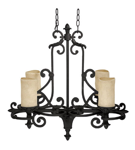 Capital Lighting Mediterranean 4 Light Chandelier in Wrought Iron with Rust Scavo Glass 3264WI-125 photo