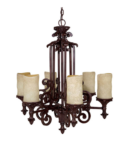Capital Lighting Mediterranean 6 Light Chandelier in Mediterranean Bronze with Rust Scavo Glass 3266MBZ-125 photo